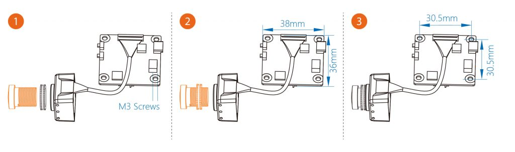 Runcam Split FPV and HD Camera lens and PCB mounting