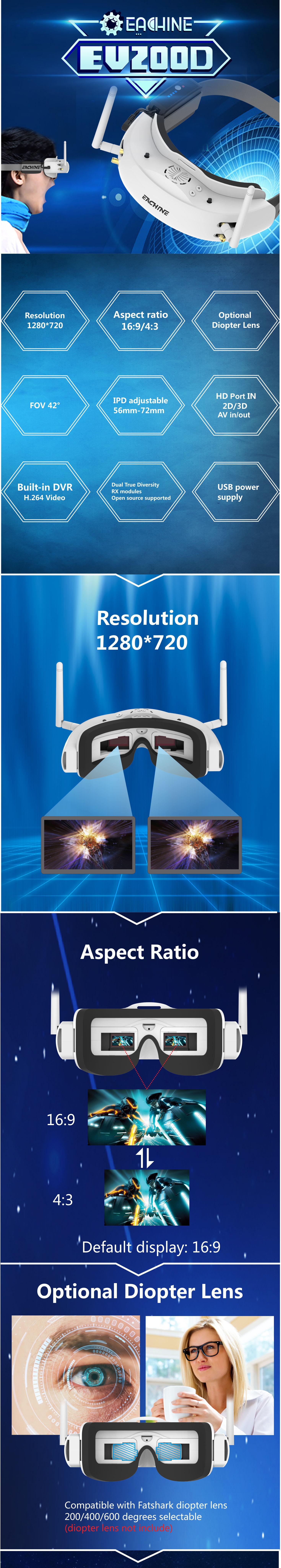 Eachine EV200D FPV Goggles
